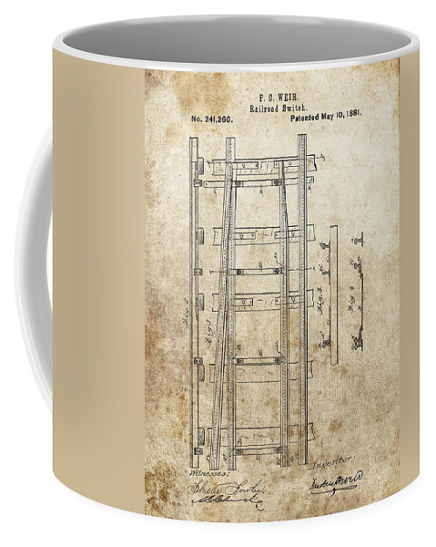 Railroad Switch Patent Coffee Mug featuring the drawing Railroad Switch Patent by Dan Sproul