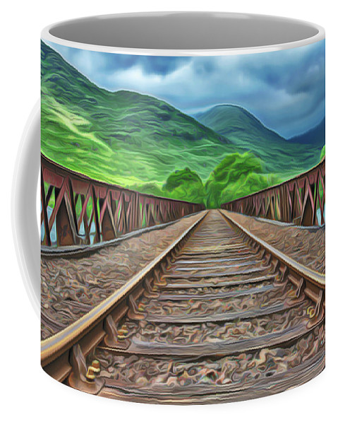 Railway Coffee Mug featuring the painting Railway by Harry Warrick