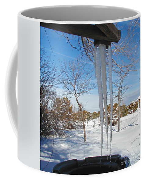 Icicle Coffee Mug featuring the photograph Rain Barrel Icicle by Diana Dearen