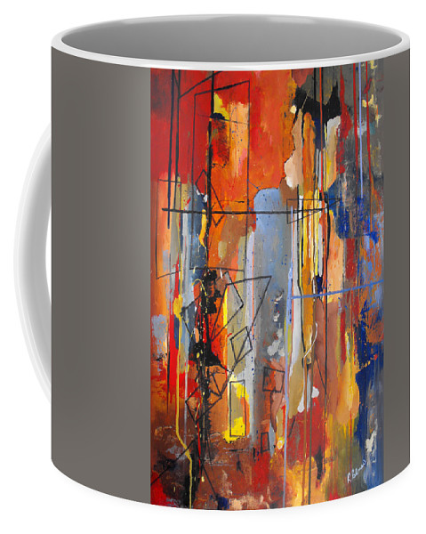 Abstract Coffee Mug featuring the painting Rain Down by Ruth Palmer