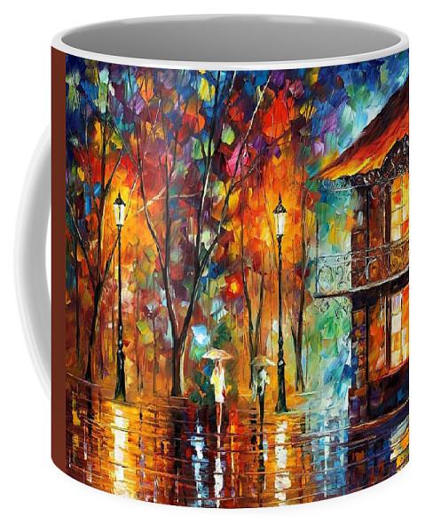 Afremov Coffee Mug featuring the painting Rain Energy by Leonid Afremov