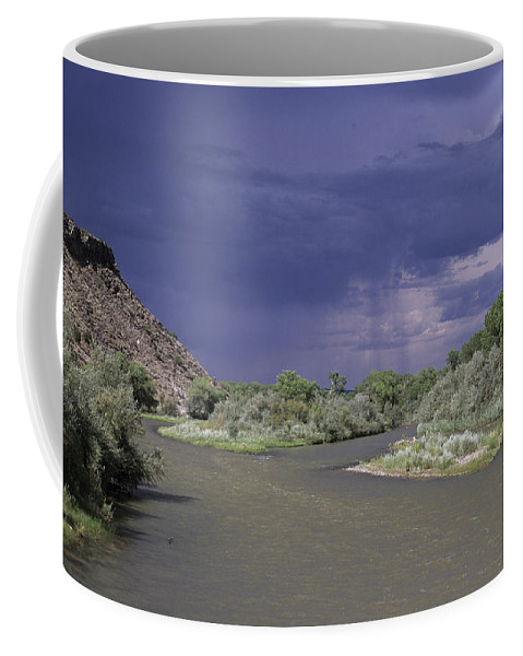 New Mexico Coffee Mug featuring the photograph Rain Falls On This Desert Landscape by Stacy Gold