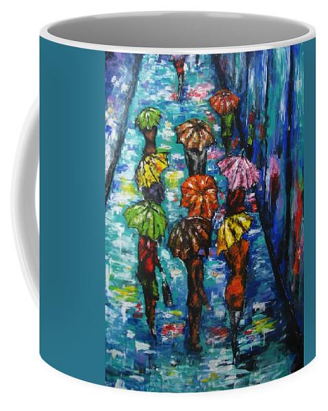Rainy Landscape Coffee Mug featuring the painting Rain Fantasy Acrylic painting by Natalja Picugina