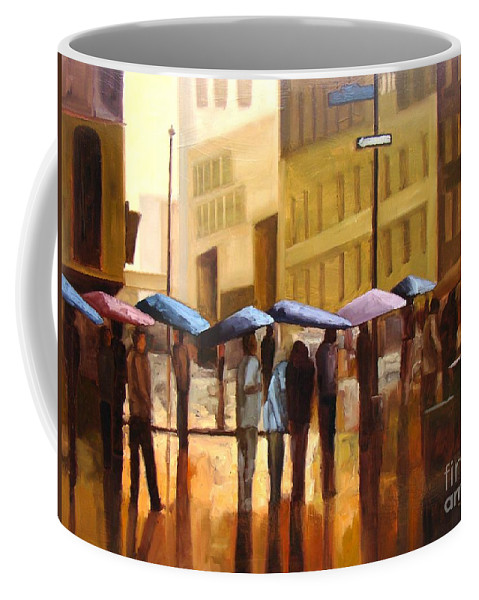 Cityscape Coffee Mug featuring the painting Rain in Manhattan number seventeen by Tate Hamilton