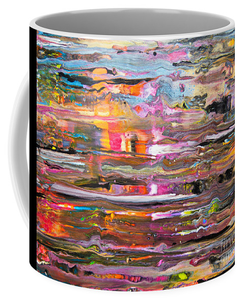 Vibrant Colorful Wet-looking Abstract Rain O A Window Pane Pink Orange Blue Yellow Black White Coffee Mug featuring the painting Rain on my window by Priscilla Batzell Expressionist Art Studio Gallery