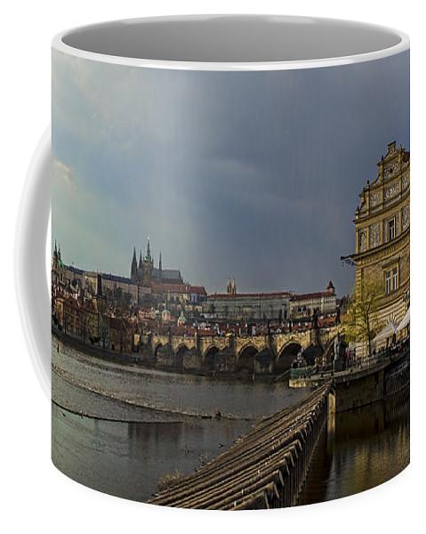Prague Coffee Mug featuring the photograph Rain Over Prague by Heather Applegate