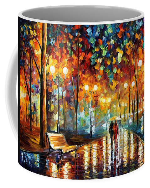 Afremov Coffee Mug featuring the painting Rain Rustle by Leonid Afremov