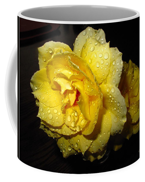 Rose Coffee Mug featuring the photograph Rain Soaked Yellow Rose by Joyce Dickens