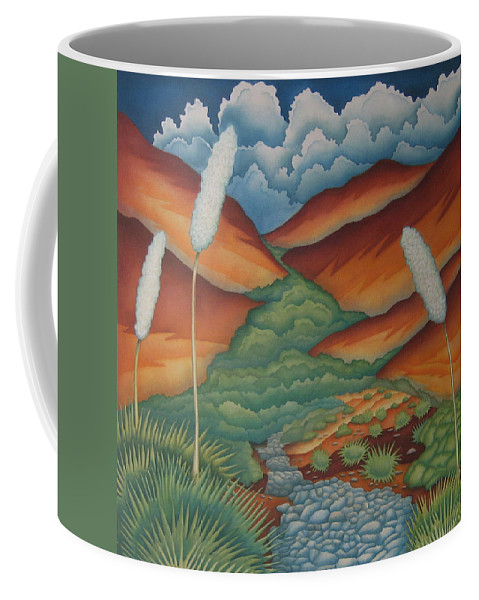 Landscape Coffee Mug featuring the painting Rain Trail by Jeniffer Stapher-Thomas