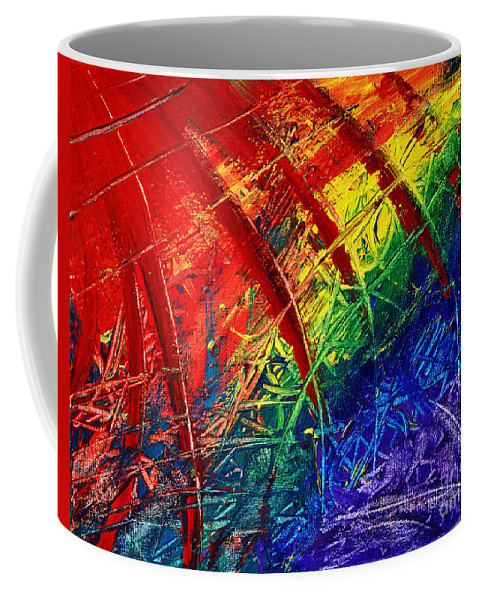 Rainbow Coffee Mug featuring the painting Rainbow Abstract by Davids Digits