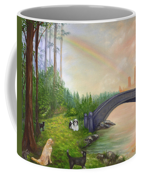 Pet Remembrance Coffee Mug featuring the painting Rainbow Bridge by Anne Kushnick