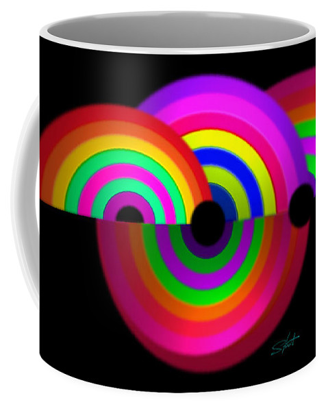 Rainbow Coffee Mug featuring the painting Rainbow In 3d by Charles Stuart