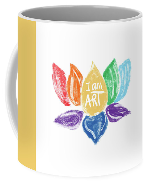 Lotus Coffee Mug featuring the mixed media Rainbow Lotus I Am Art- Art By Linda Woods by Linda Woods