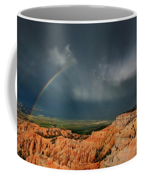 North America Coffee Mug featuring the photograph Rainbow Over Hoodoos Bryce Canyon National Park Utah by Dave Welling