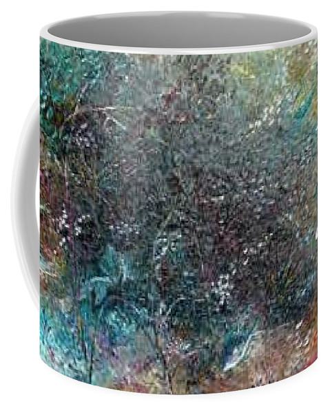 Original Abstract Painting Of Under The Sea Coffee Mug featuring the painting Rainbow Reef by Karin Dawn Kelshall- Best