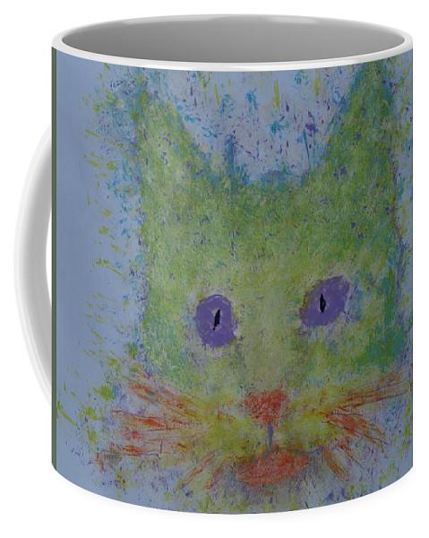 Cat Coffee Mug featuring the painting Rainbow Tomcat by Crina Iancau