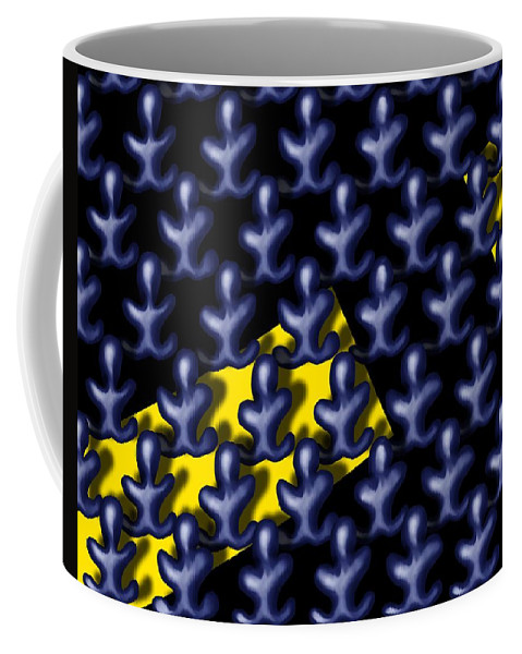 Surrealism Coffee Mug featuring the digital art Raindance III - March Of The Blue People by Robert Morin