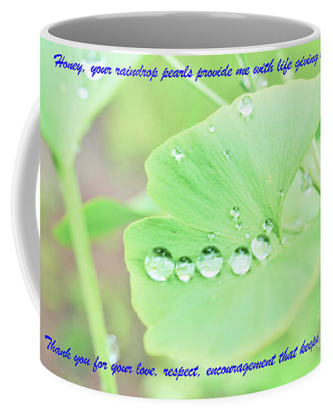 Leaves Coffee Mug featuring the photograph Raindrop Pearls by Merle Grenz