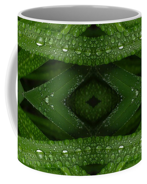 Nature Coffee Mug featuring the digital art Raindrops On Green Leaves Collage by Carol Groenen