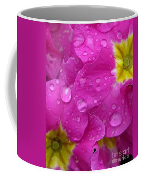 Pink Coffee Mug featuring the photograph Raindrops On Pink Flowers by Carol Groenen