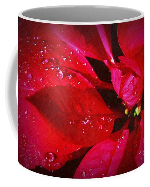 Raindrops On Red Poinsettia Coffee Mug featuring the photograph Raindrops On Red Poinsettia by Mariola Bitner