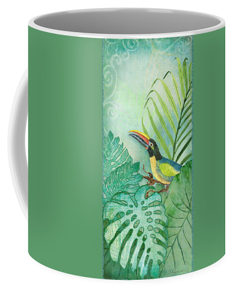 Toucan Coffee Mug featuring the painting Rainforest Tropical - Tropical Toucan W Philodendron Elephant Ear And Palm Leaves by Audrey Jeanne Roberts