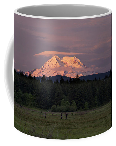 Mount Rainier Coffee Mug featuring the photograph Rainier Dusk by Mike Reid