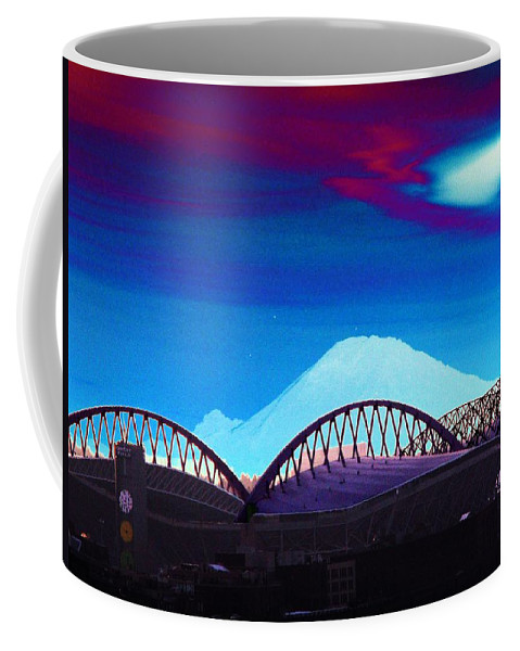 Seattle Coffee Mug featuring the photograph Rainier Over Sodo by Tim Allen