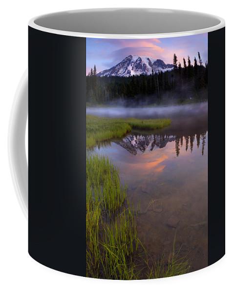 Rainier Coffee Mug featuring the photograph Rainier Sunrise Cap by Mike Dawson