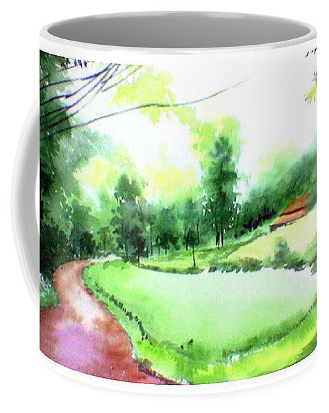Landscape Coffee Mug featuring the painting Rains In West by Anil Nene