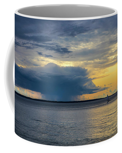 Rain Coffee Mug featuring the photograph Rainstorm Offshore by Diane Diederich