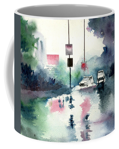 Nature Coffee Mug featuring the painting Rainy Day by Anil Nene
