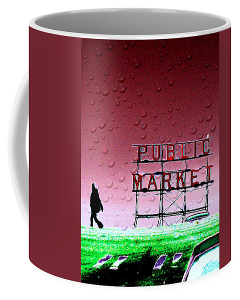 Seattle Coffee Mug featuring the photograph Rainy Day At The Market by Tim Allen