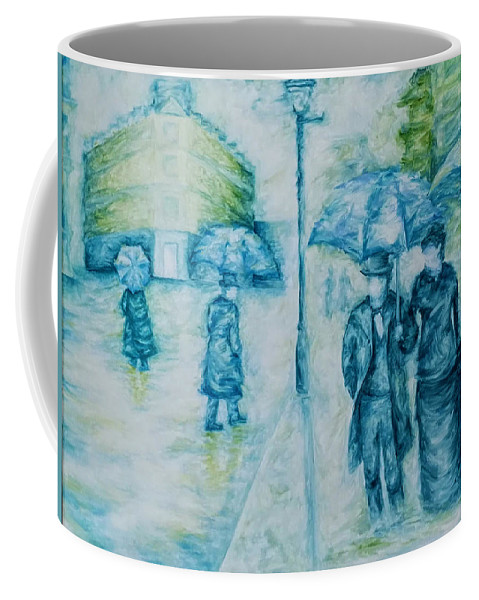 Rain Coffee Mug featuring the painting Rainy Day Impression by Brena Patchen