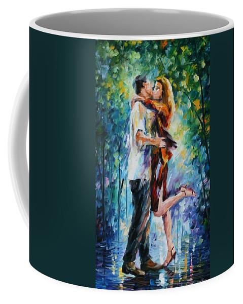 Afremov Coffee Mug featuring the painting Rainy Kiss by Leonid Afremov