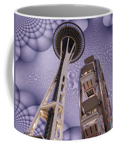 Seattle Coffee Mug featuring the digital art Rainy Needle by Tim Allen