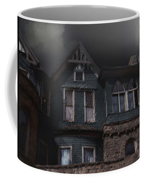 Clouds Coffee Mug featuring the painting Rainy Night House by RC DeWinter