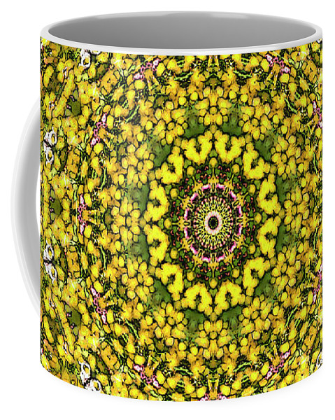 Mandala Coffee Mug featuring the digital art Rapeseed And Apples by Frans Blok
