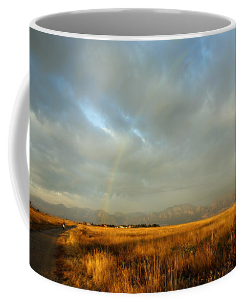 Rain Coffee Mug featuring the photograph rare Morning Rainbow by Marilyn Hunt