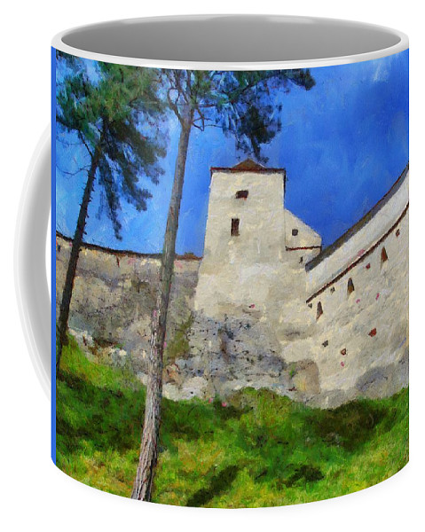 Fortress Coffee Mug featuring the painting Rasnov Fortress by Jeffrey Kolker