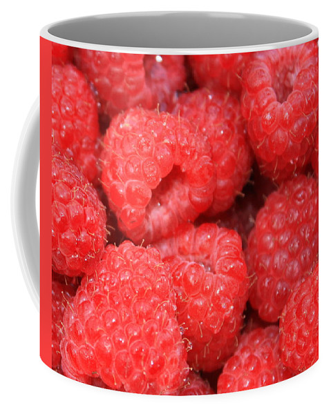 Food Coffee Mug featuring the photograph Raspberries Close-up by Carol Groenen