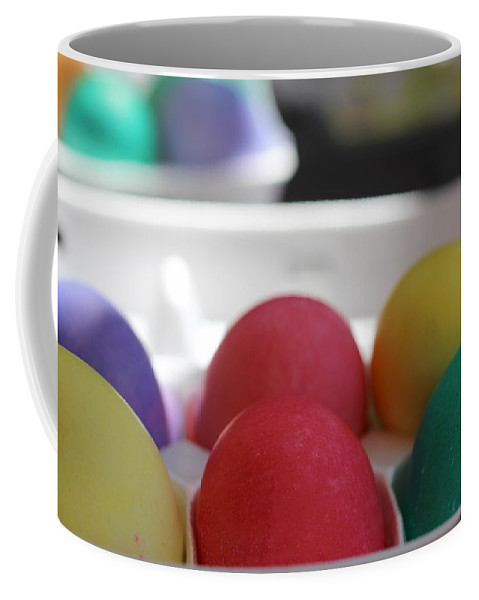Raspberry Coffee Mug featuring the photograph Raspberry and Hawaiian Surf Colored Easter Eggs by Colleen Cornelius