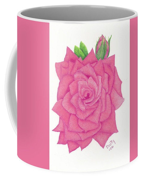 Rose Coffee Mug featuring the drawing Raspberry Pink by Dusty Reed