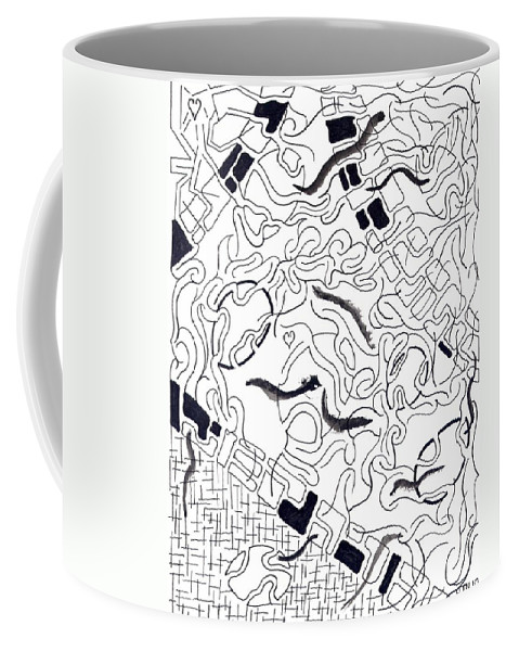 Abstract Coffee Mug featuring the drawing Ratna by Steven Natanson