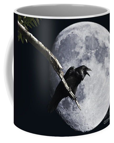 Wingsdomain Coffee Mug featuring the photograph Raven Barking at the Moon by Wingsdomain Art and Photography