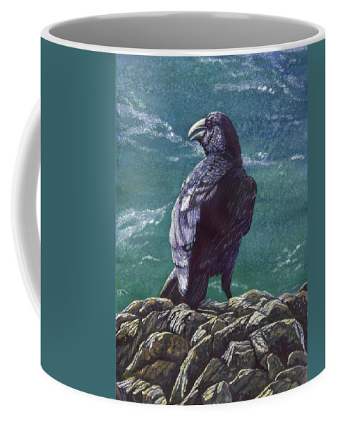 Bird Coffee Mug featuring the painting Raven by Catherine G McElroy