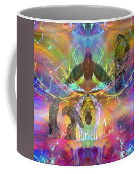 Raven Coffee Mug featuring the digital art Raven Moon by Rich Baker