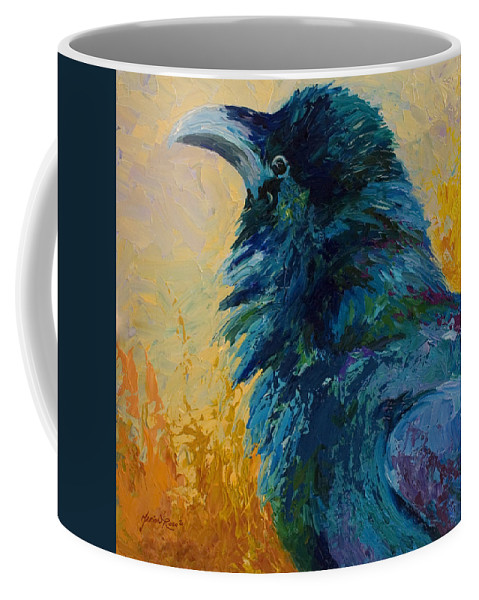 Crows Coffee Mug featuring the painting Raven Study by Marion Rose