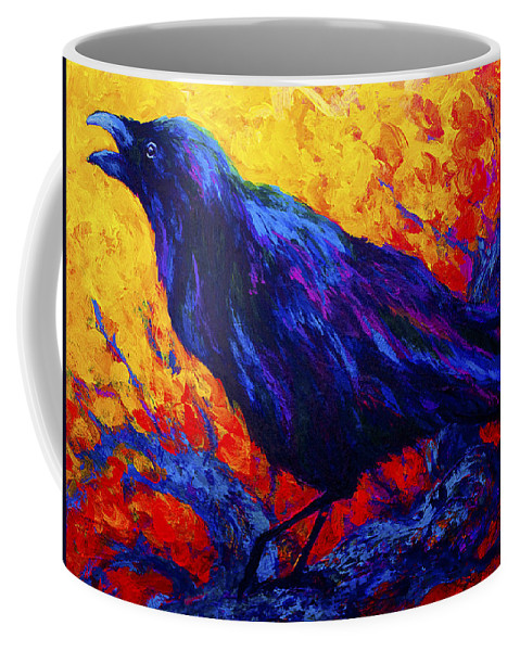 Crows Coffee Mug featuring the painting Raven's Echo by Marion Rose