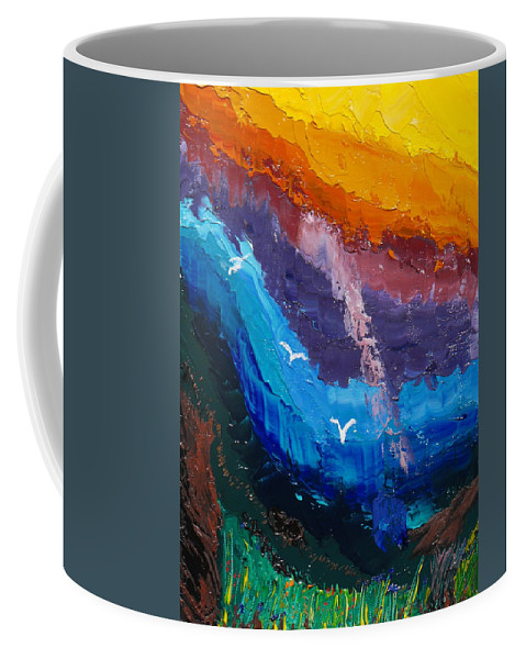Rainbow Coffee Mug featuring the painting Ray Of Hope by Ginger Repke
